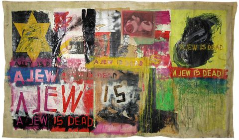 Boris Lurie, A Jew is dead, 1964, Collage: oil, paper, and duct tape on canvas, 180x312 cm