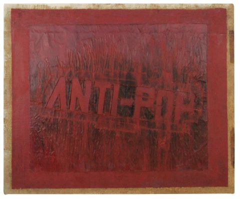 Boris Lurie: Anti-Pop Stencil, 1964, Collage: oil paint and paper on unprimed canvas