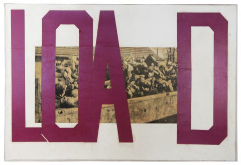Boris Lurie: Hard Writings (Load), 1972, Collage: picture and tape on paper mounted on canvas