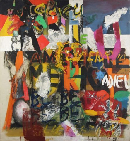 Boris Lurie, Adieu Amerique, 1959-60. oil on canvas, 55.5x51.5 in. Private collection.