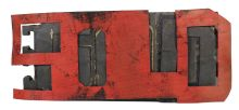 "Sold God, c. 1979, Oil and rubber assemblage, 32 x 73 x 4 cm (12 1⁄2"" x 28 3⁄4"" x 1 3⁄4"")"