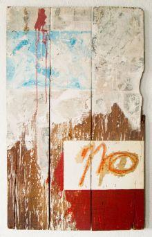 "NO With Pin-Ups, 1962, mixed media on wood, 46""x24.5"""